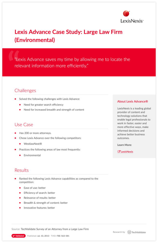 Lexis Advance Case Study: Large Law Firm (Environmental)