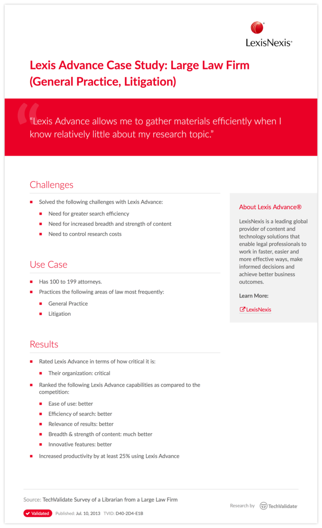 Lexis Advance Case Study: Large Law Firm (General Practice, Litigation)