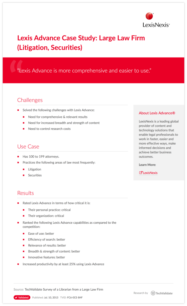 Lexis Advance Case Study: Large Law Firm (Litigation, Securities)