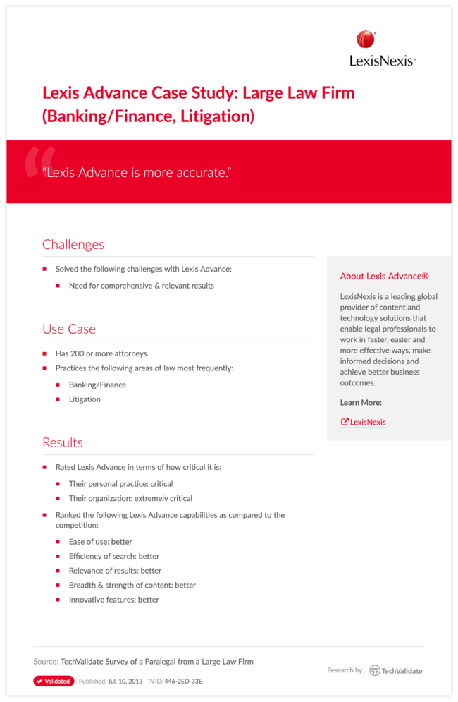 Lexis Advance Case Study: Large Law Firm (Banking/Finance, Litigation)