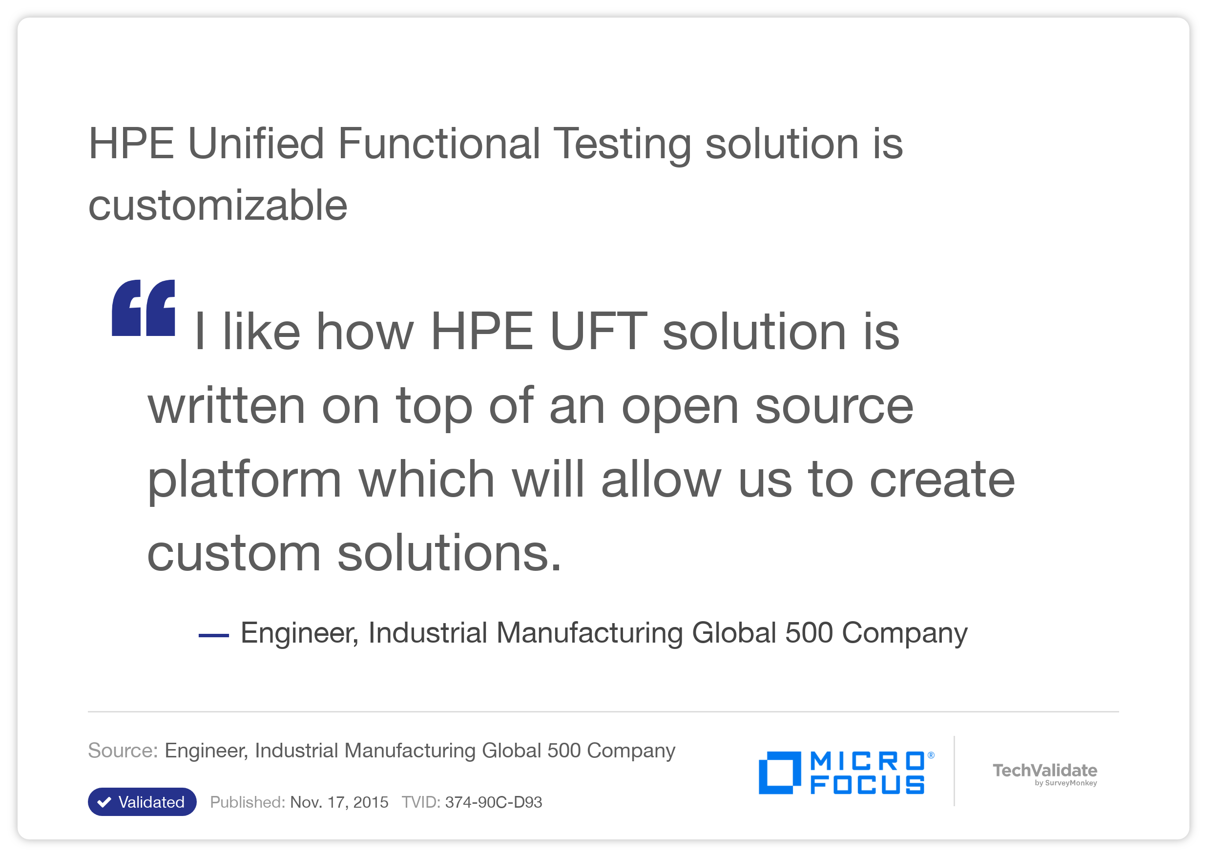 HP Unified Functional Testing solution is customizable