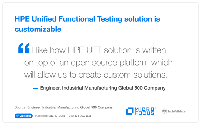 HPE Unified Functional Testing solution is customizable
