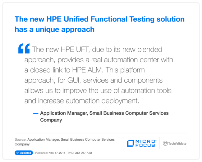 The new HPE Unified Functional Testing solution has a unique approach