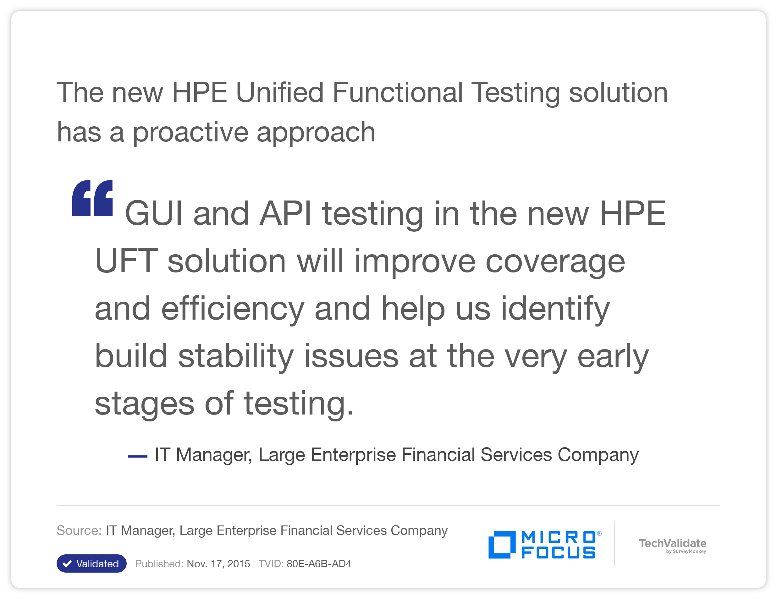 The new HP Unified Functional Testing solution has a proactive approach