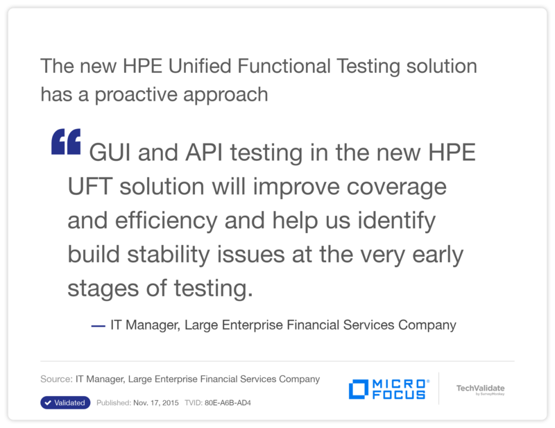 The new HPE Unified Functional Testing solution has a proactive approach
