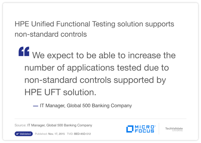 HPE Unified Functional Testing solution supports non-standard controls
