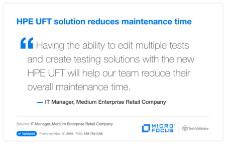 HP UFT solution reduces maintenance time