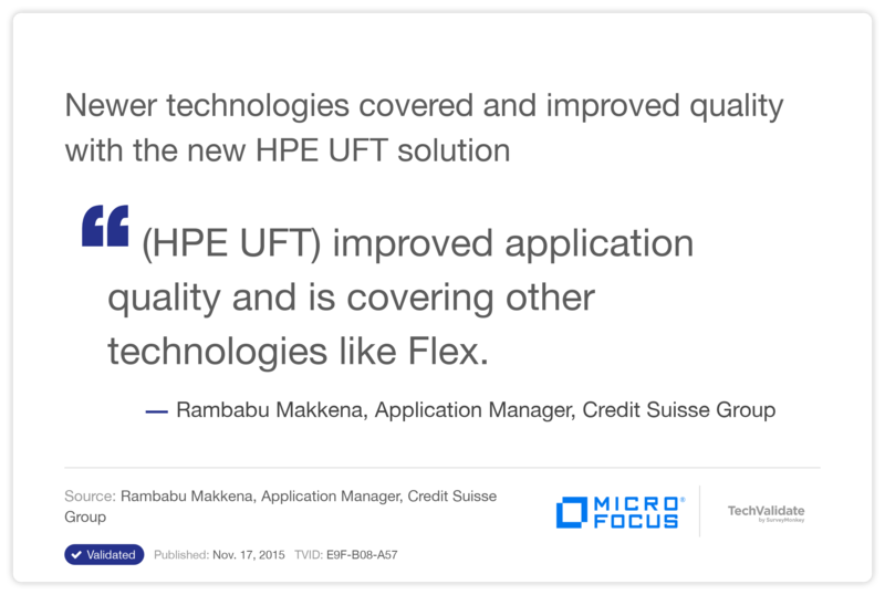 Newer technologies covered and improved quality with the new HP UFT solution