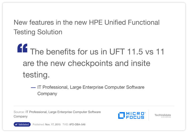 New features in the new HP Unified Functional Testing Solution