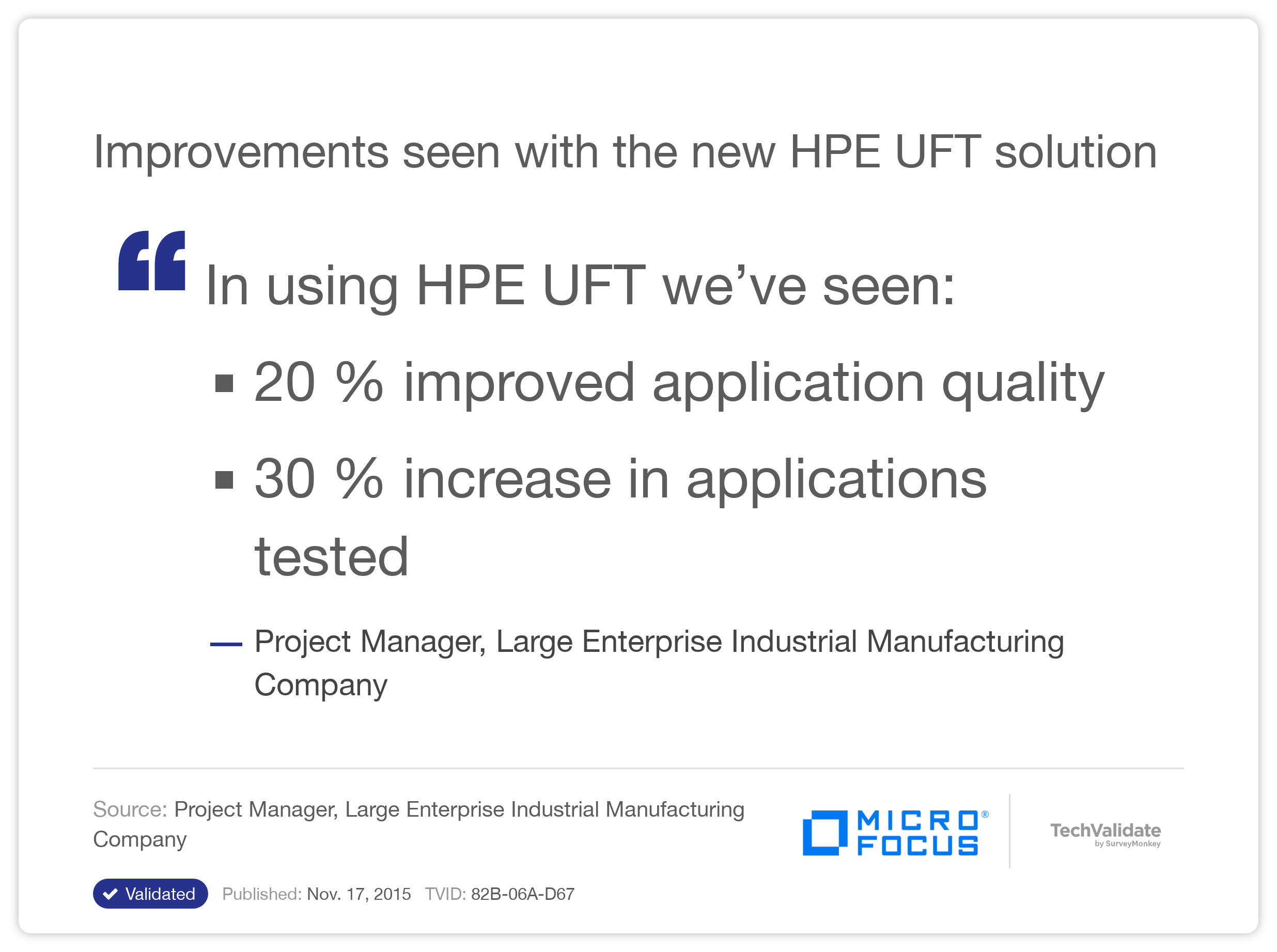Improvements seen with the new HP UFT solution