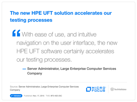The new HP UFT solution accelerates our testing processes