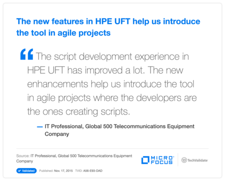 The new features in HP UFT help us introduce the tool in agile projects