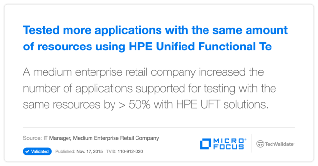Tested more applications with the same amount of resources using HP Unified Functional Testing