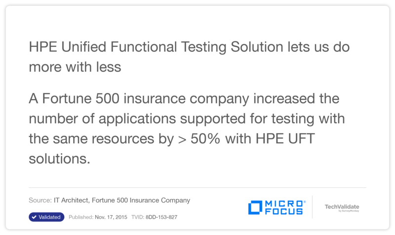 HPE Unified Functional Testing Solution lets us do more with less