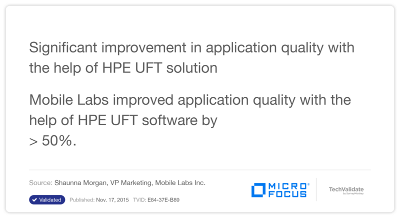 Significant improvement in application quality with the help of HPE UFT solution