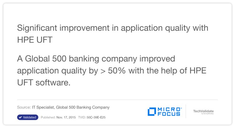 Significant improvement in application quality with HP UFT