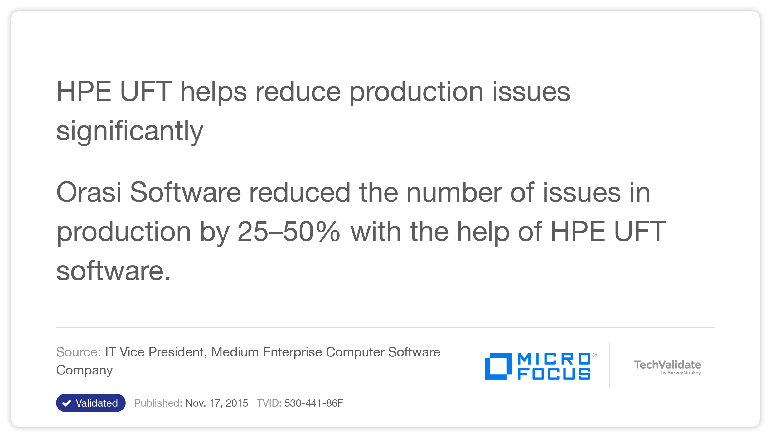 HP UFT helps reduce production issues significantly