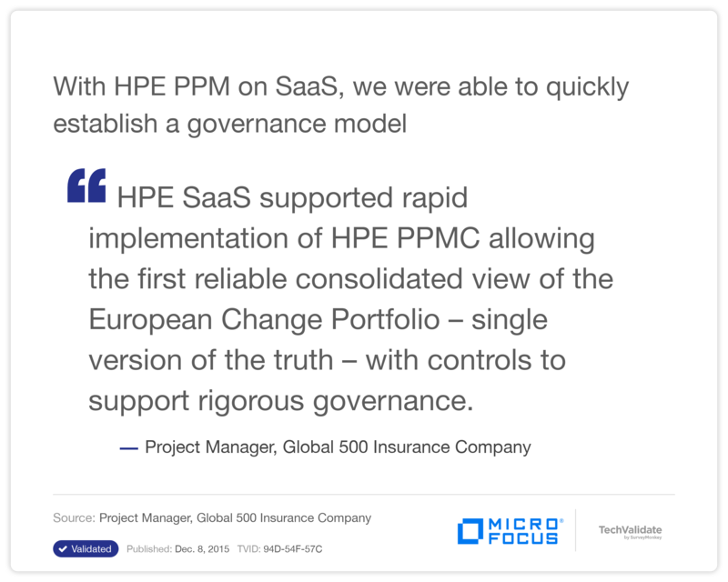 With HP PPM on SaaS, we were able to quickly establish a governance model