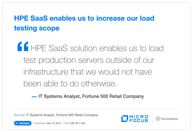 HP SaaS enables us to increase our load testing scope