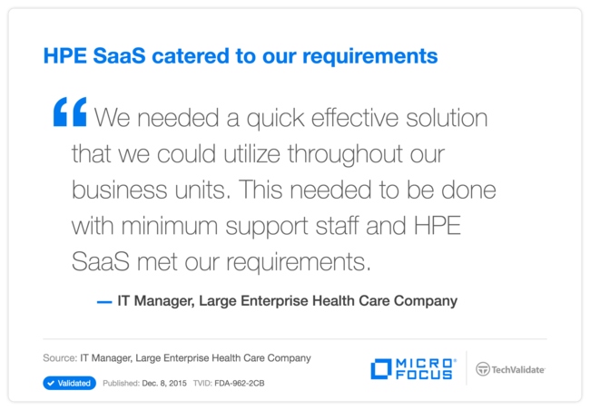 HP SaaS catered to our requirements
