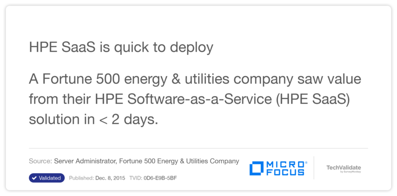 HP SaaS is quick to deploy