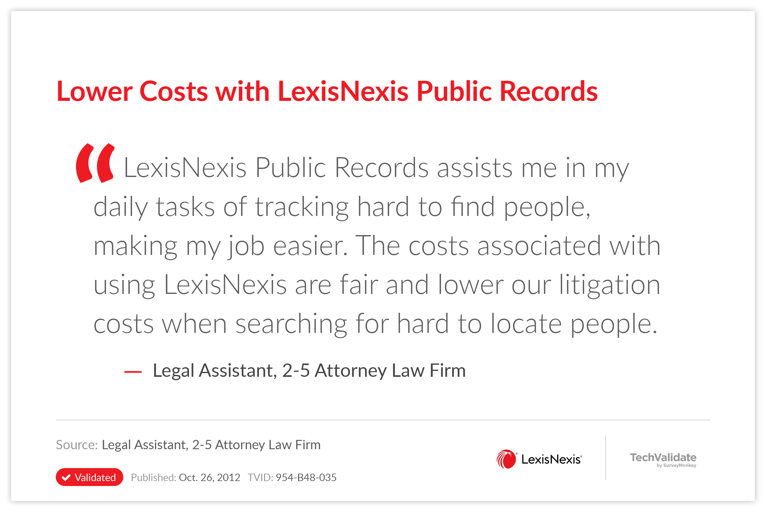 Lower Costs with LexisNexis Public Records