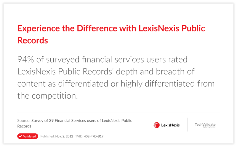 Experience the Difference with LexisNexis Public Records