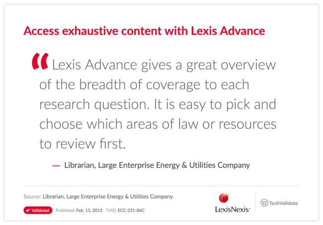 Access exhaustive content with Lexis Advance