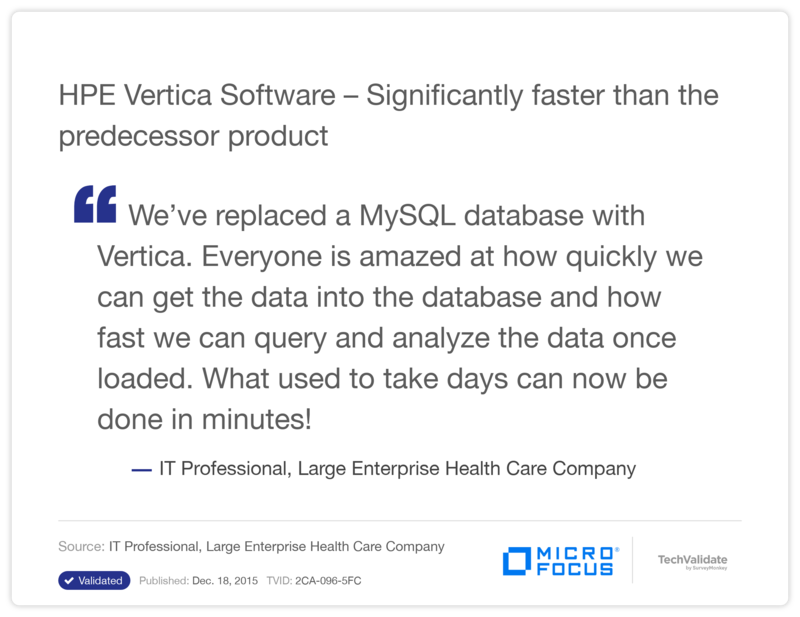 HPE Vertica Software  - Significantly faster than the predecessor product