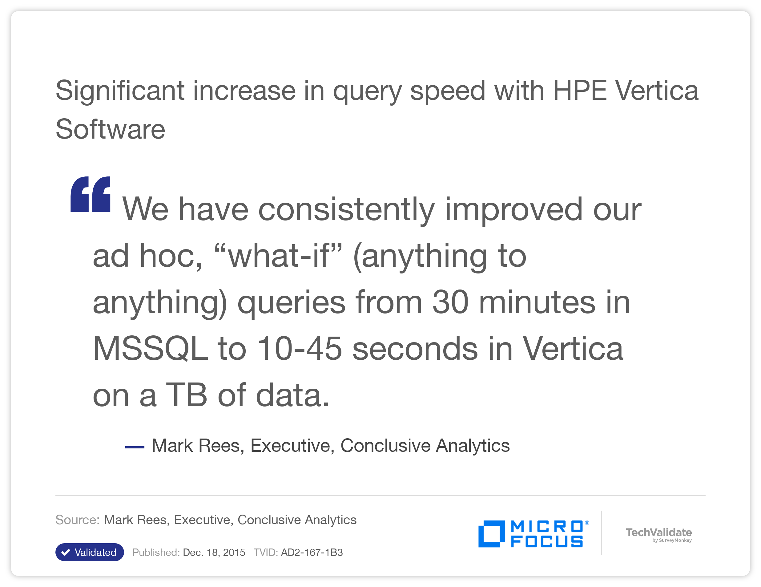 Significant increase in query speed with HP Vertica Software