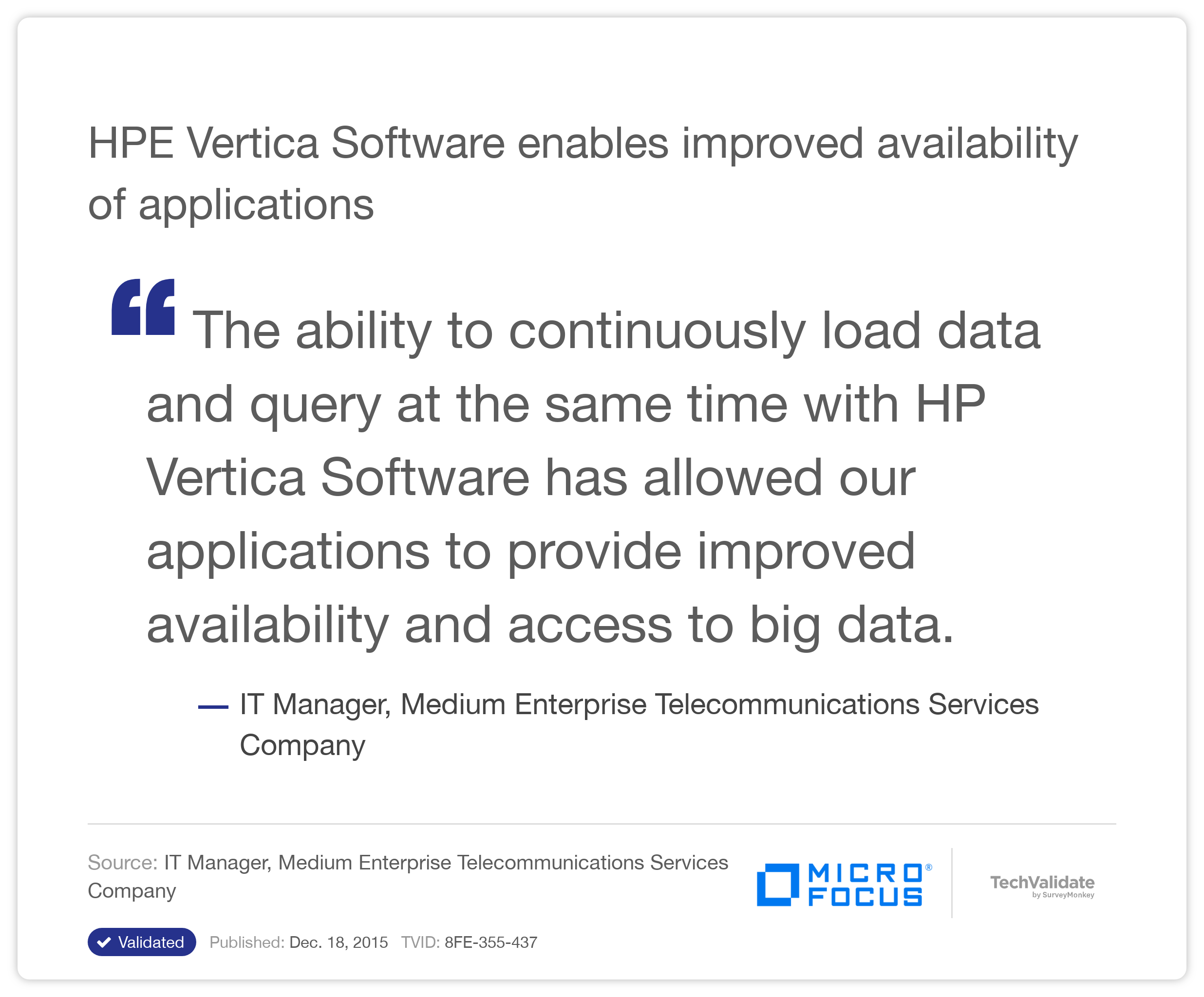 HP Vertica Software enables improved availability of applications