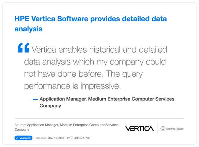 HP Vertica Software provides detailed data analysis