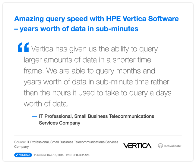 Amazing query speed with HP Vertica Software - years worth of data in sub-minutes