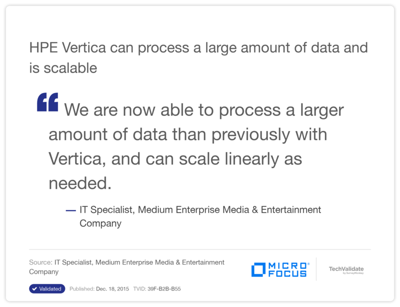 HPE Vertica can process a large amount of data and is scalable