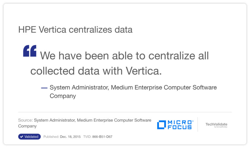 HP Vertica centralizes data