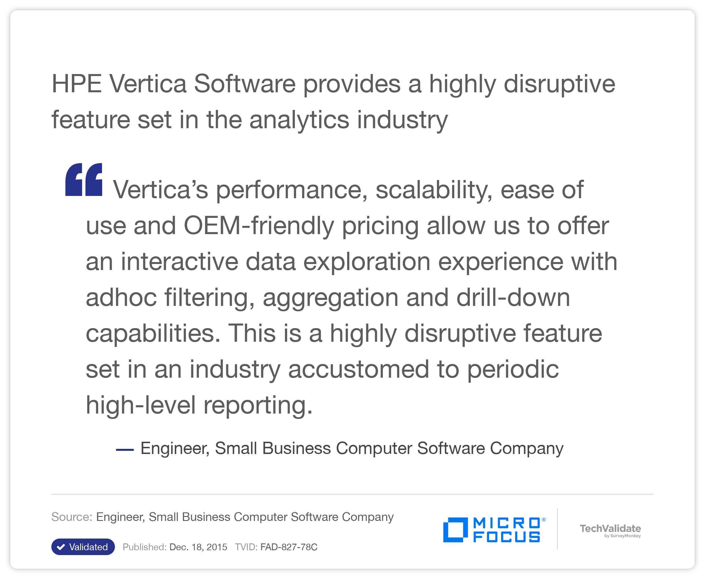 HP Vertica Software provides a highly disruptive feature set in the analytics industry