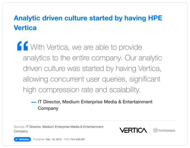 Analytic driven culture started by having HP Vertica
