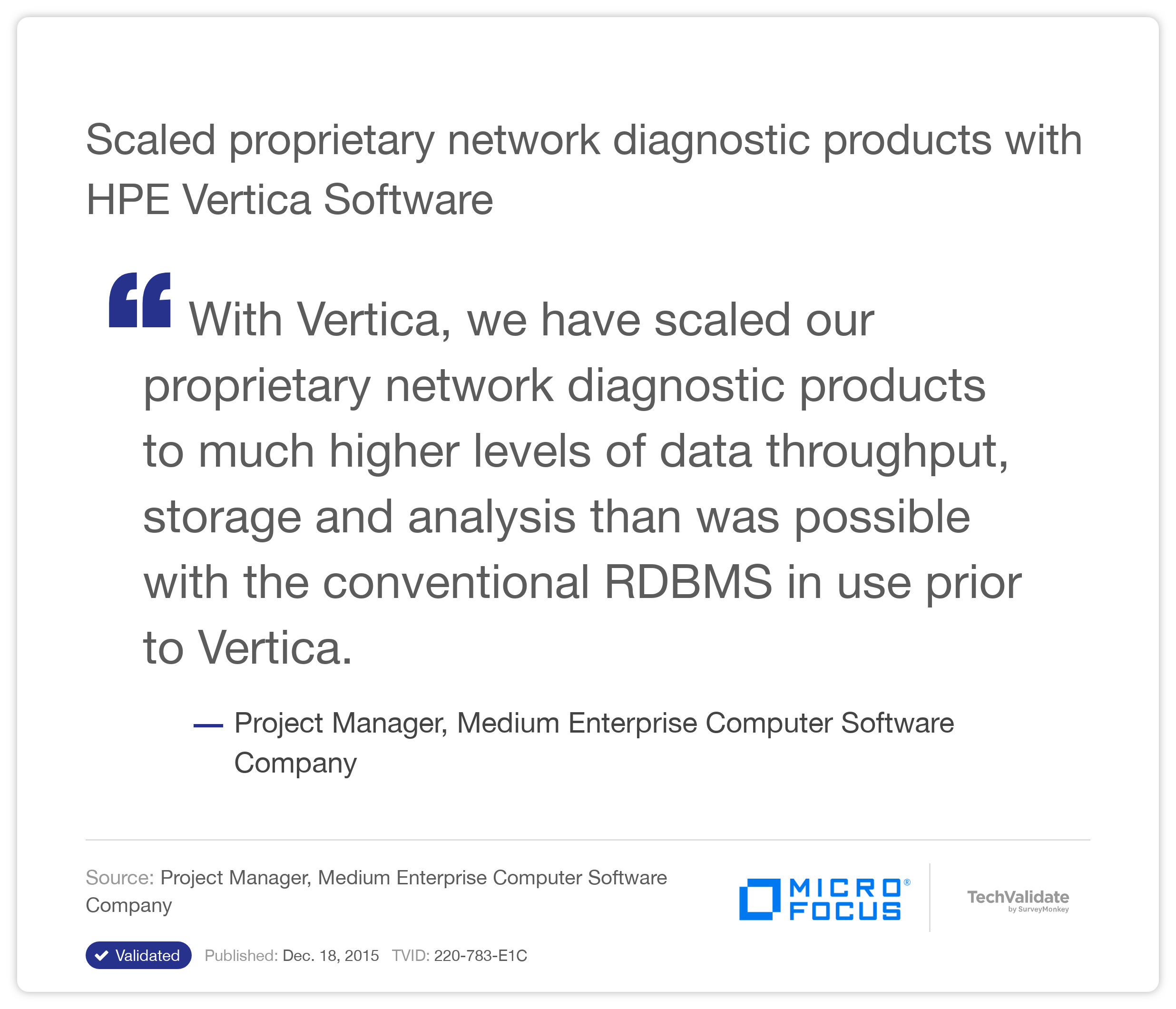 Scaled proprietary network diagnostic products with HP Vertica Software
