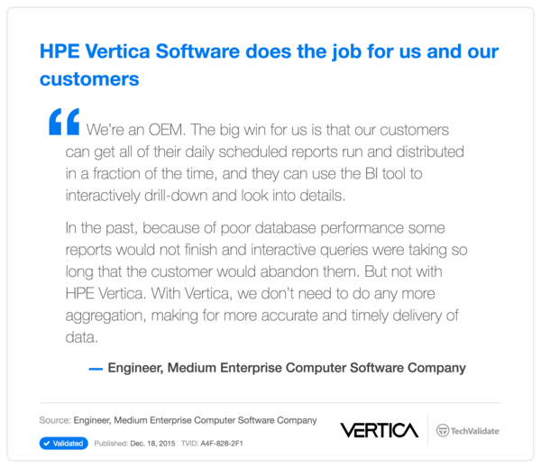 HP Vertica Software does the job for us and our customers
