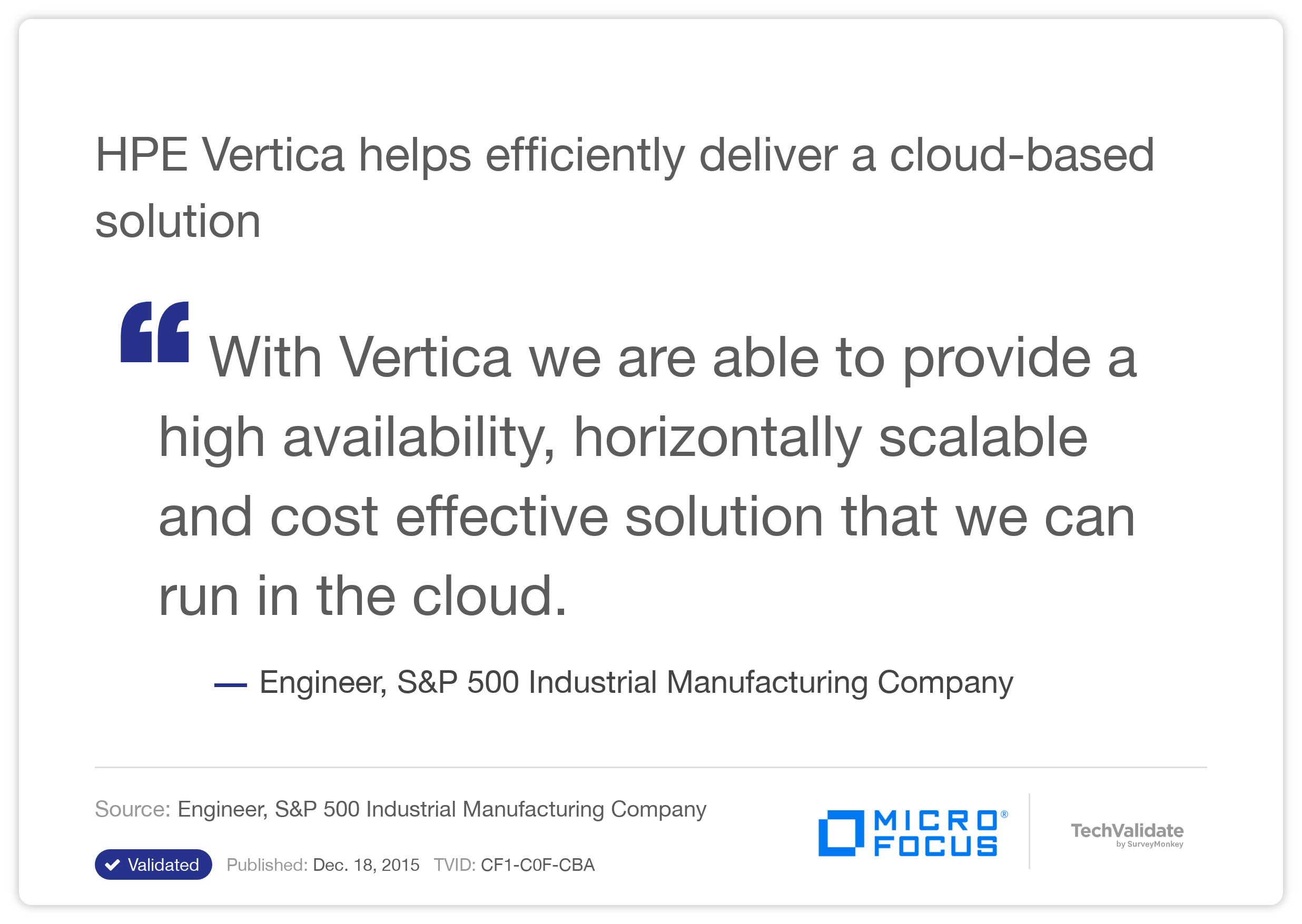 HP Vertica helps efficiently deliver a cloud-based solution