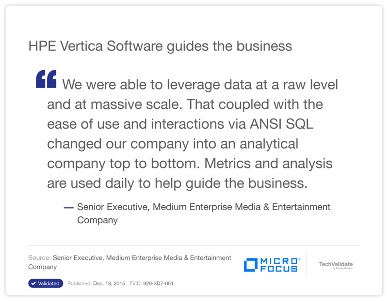 HPE Vertica Software guides the business