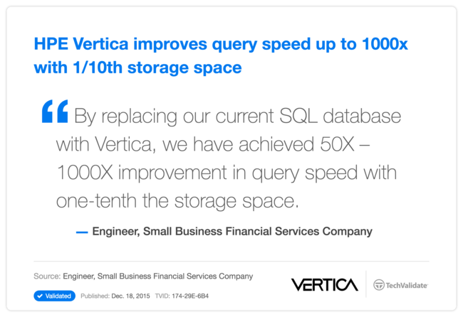 HP Vertica improves query speed up to 1000x with 1/10th storage space