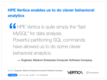 HP Vertica enables us to do clever behavioral analytics