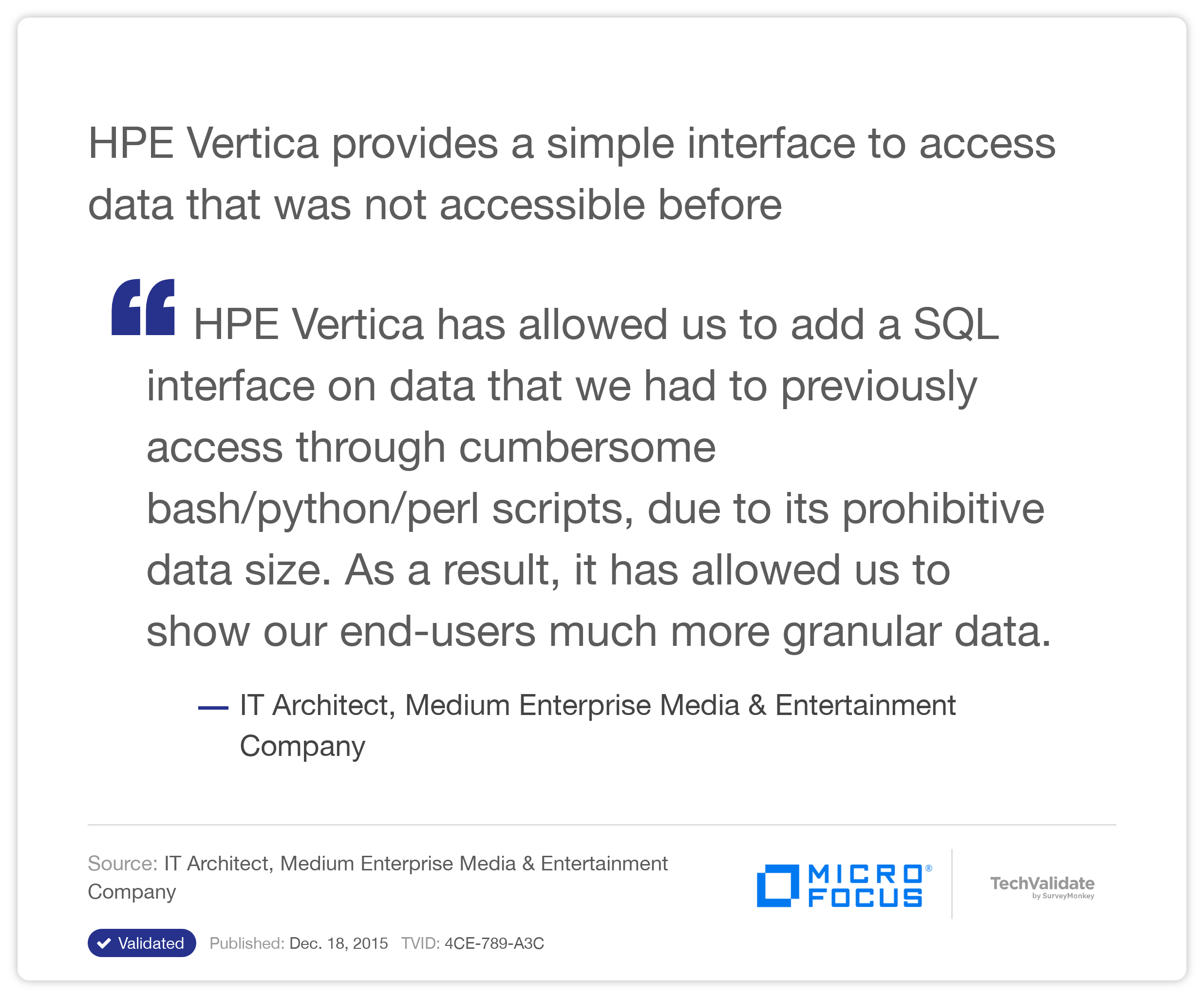 HP Vertica provides a simple interface to access data that was not accessible before