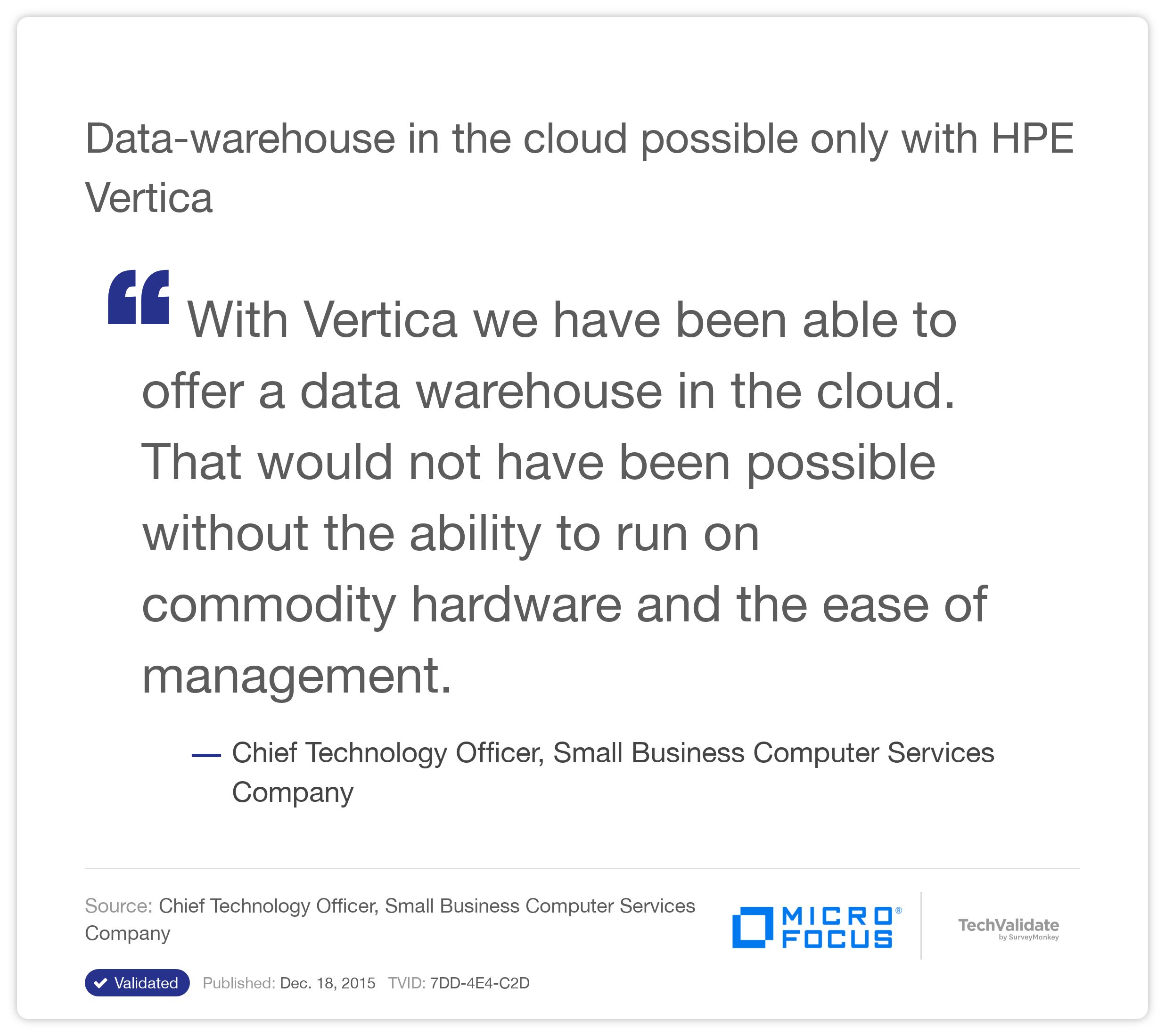 Data-warehouse in the cloud possible only with HP Vertica