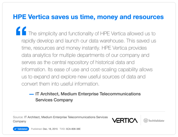 HP Vertica saves us time, money and resources