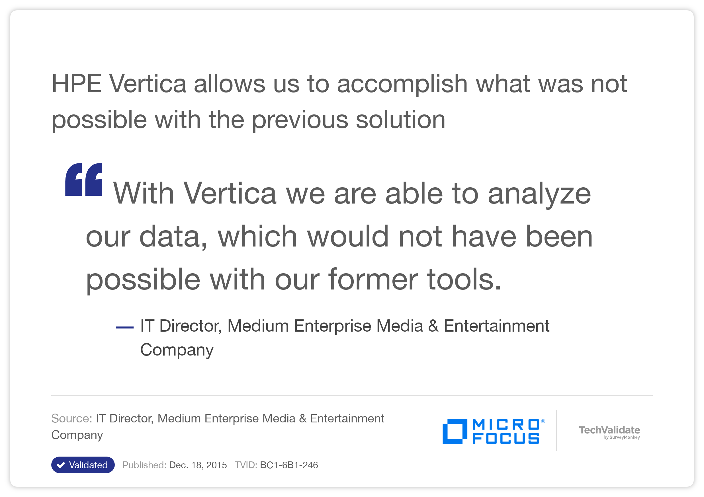 HP Vertica allows us to accomplish what was not possible with the previous solution