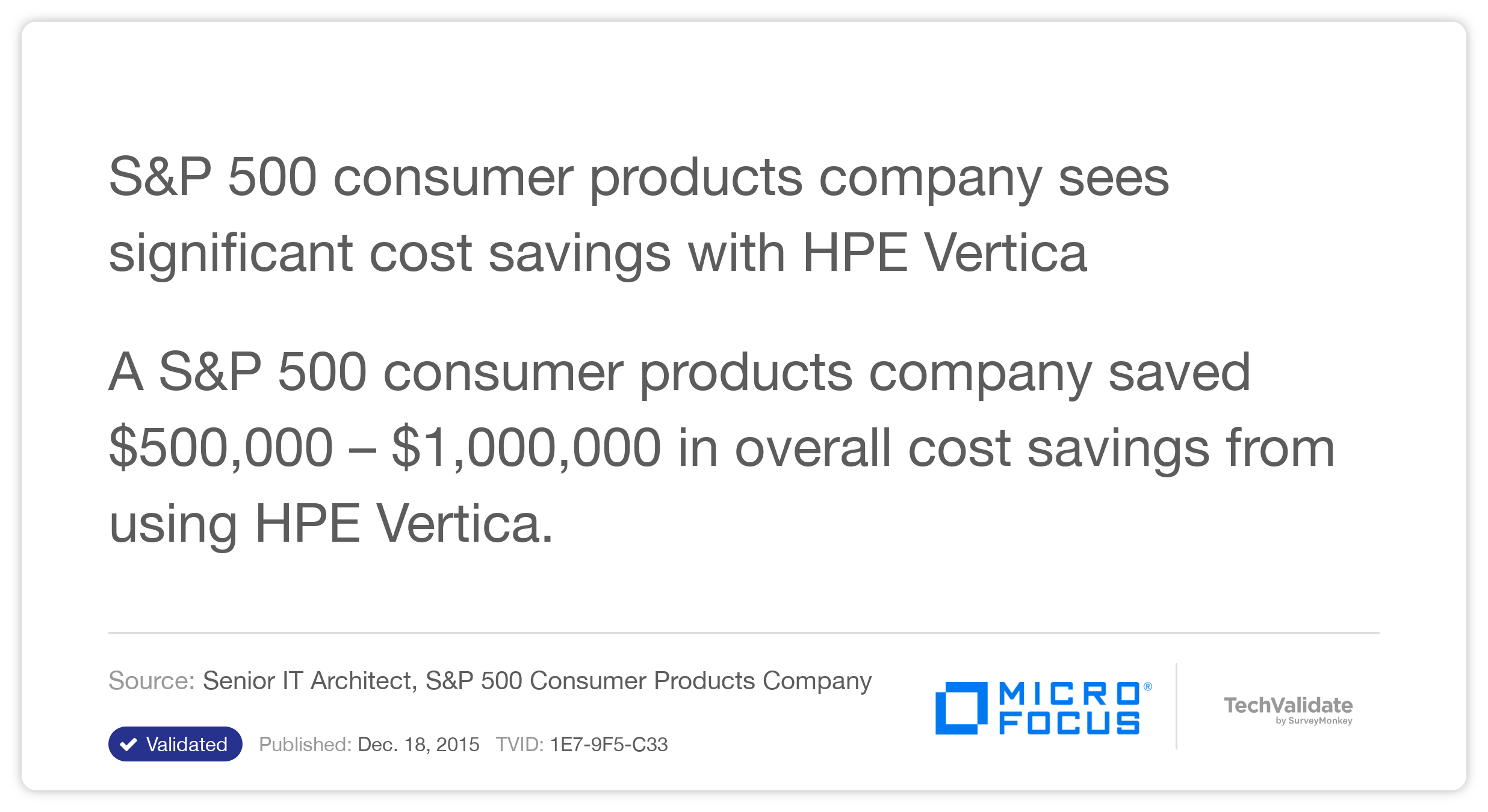 S&P 500 consumer products company sees significant cost savings with HP Vertica
