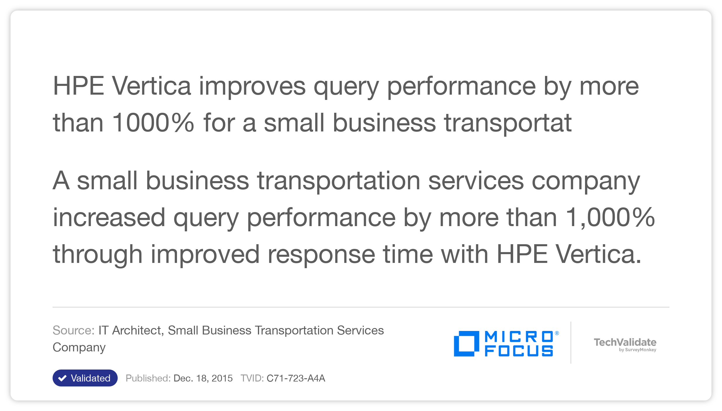 HP Vertica improves query performance by more than 1000% for a small business transportation company