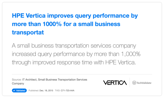 HPE Vertica improves query performance by more than 1000% for a small business transportat